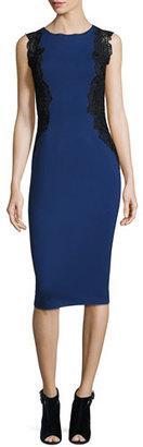 Elie Tahari Cailyn Seamed Sheath Dress w/ Zip Hem, Midnight $398 thestylecure.com
