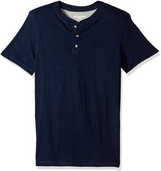 Lee Men's Short Sleeve Henley Tee Shirt, Heather Grey