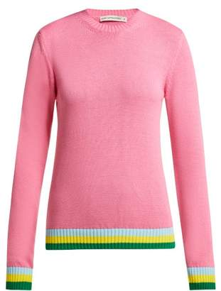Mary Katrantzou Lizzie Intarsia Stripe Cotton Sweater - Womens - Pink Multi