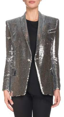 Balmain Single-Breasted Sequined Paillette Jacket