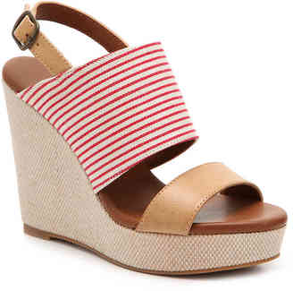 Women's Sailor Wedge Sandal -Red/Ivory/Tan $69 thestylecure.com