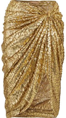 Metallic Fil Coupé Draped Organza Midi Skirt - Gold