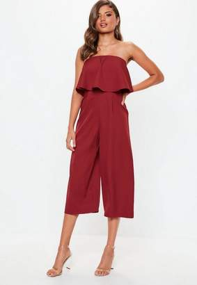Missguided Burgundy Crepe Double Layer Culotte Romper