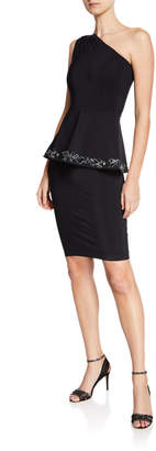 Chiara Boni Angaly One-Shoulder Peplum Dress w/ Embroidery Detail