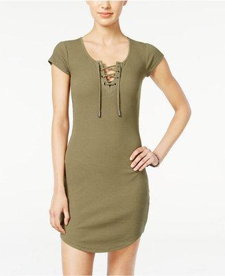 Planet Gold Juniors' Lace-Up T-Shirt Dress $39 thestylecure.com