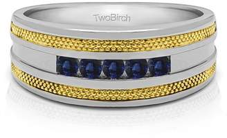 TwoBirch Sapphire Mounted in Sterling Silver Sapphire Mens Fashion Ring (0.5crt)