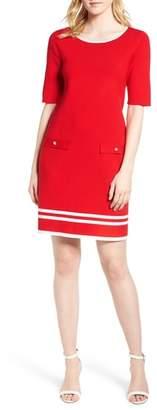 Anne Klein Ann Klein New York Stripe Border Knit Sheath Dress