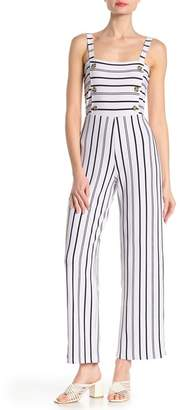 900c8b15639 Planet Gold Striped Print Button Wide Leg Jumpsuit