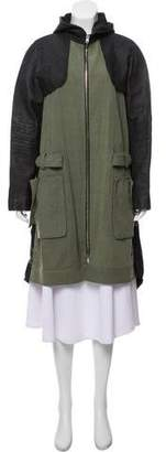 Alexander Wang Linen Blended Hooded Jacket