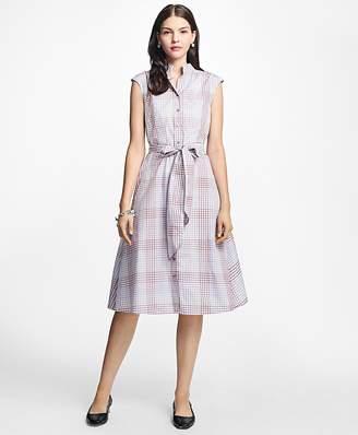 Cotton Poplin Mini-Gingham Trapeze Shirtdress $198 thestylecure.com
