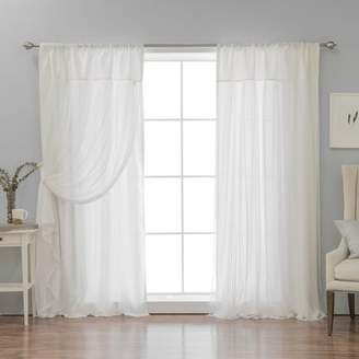 Ariella Ophelia & Co. Faux Silk Tulle Overlay Solid Semi-Sheer Thermal Rod Pocket Curtain Panels