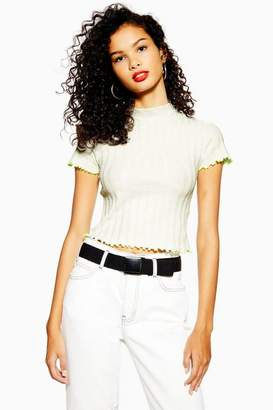 Topshop Womens Contrast Tipping Lettuce Top