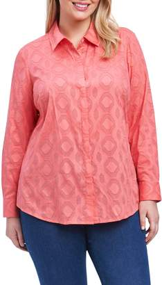 Foxcroft Ava Diamond Clip Jacquard Shirt