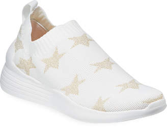 Neiman Marcus Metallic Star Slip-On Knit Sneakers White\/Gold