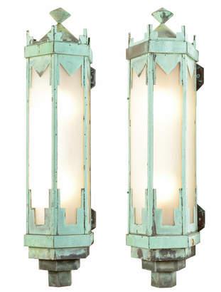 Rejuvenation Pair of Monumental Art Deco Copper Sconces
