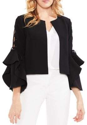 Vince Camuto Lace-Up Sleeve Ruffle Cuff Kiss Front Jacket