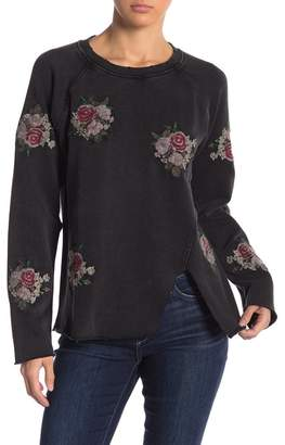 Lucky Brand Embroidered Floral Front Slit Sweater