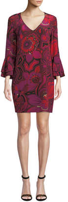 Trina Turk Freeda Floral-Print Silk Dress w/ Double-Trumpet Sleeves