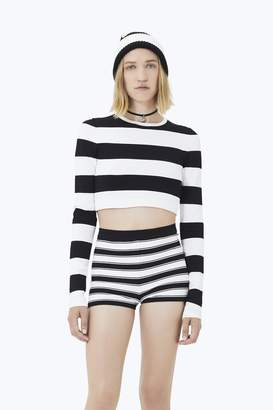 CONTEMPORARY Wide Striped Long-Sleeve Crop Top