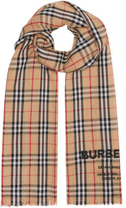 Burberry Logo Embroidered Vintage Check Lightweight Cashmere Scarf