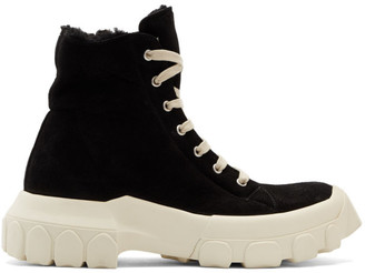 Rick Owens Black Shearling Tractor Sneaker Boots