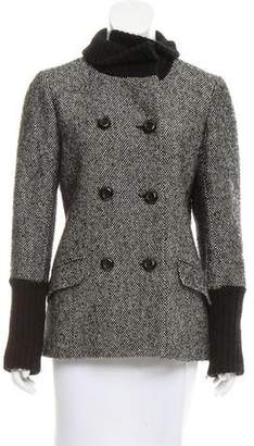 Theory Wool-Trimmed Double-Breasted Coat