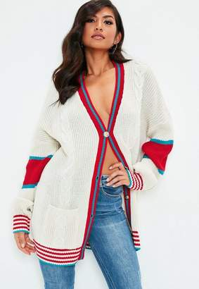 Missguided Cream Cricket Cable Knit Cardigan