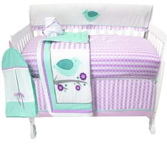 Pam Grace Creations Lovebird 6 Piece Crib Bedding Set, Lavendar