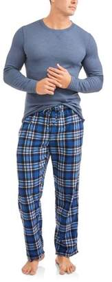 Hanes Men's Big Thermal Crew & Fleece Plaid Pant Xtemp Set