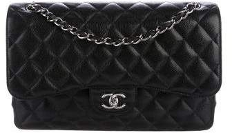 Chanel 2017 Quilted Caviar Jumbo Double Flap Bag