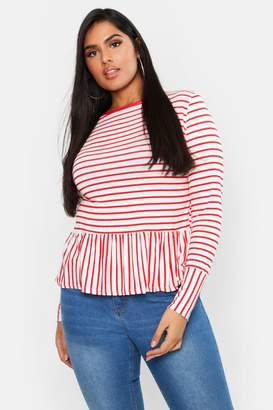 boohoo Plus Stripe Longsleeve Smock Top