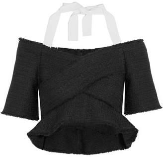 Cropped Cold-shoulder Tweed Top - Black