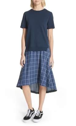Clu Mixed Media A-Line Midi Dress