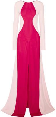 Tome Two-tone Crepe Gown - Fuchsia