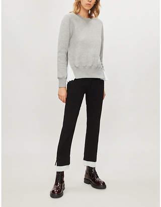 Sacai Pinstriped cotton-blend sweatshirt