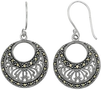 Tori HillSterling Silver Marcasite Filigree Hoop Drop Earrings