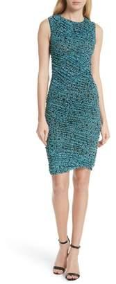 Diane von Furstenberg Bias Mesh Overlay Body-Con Dress