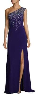 La Femme Embellished One Shoulder Floor-Length Gown