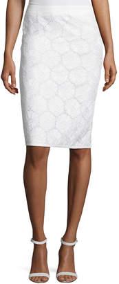 Andrew Gn Cotton Eyelet Pencil Skirt, White