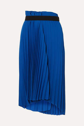 Balenciaga Asymmetric Pleated Midi Crepe Skirt - Royal blue