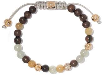 Shamballa Jewels 18kt yellow gold, brown sapphires & diamond beaded Non-Braided bracelet