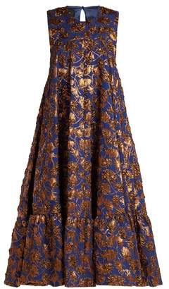 Rochas Gerbera Floral Brocade Midi Dress - Womens - Blue Multi