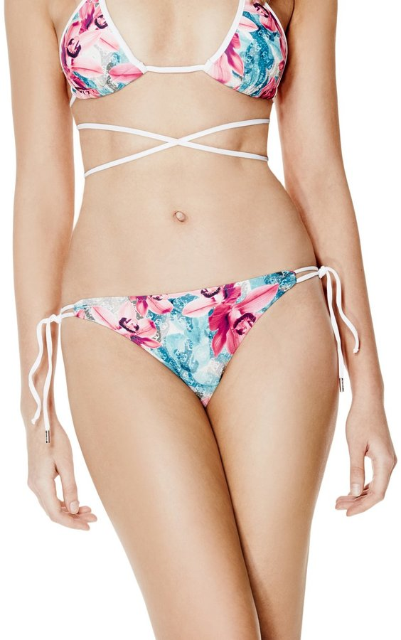 GUESS Women's Floral and Logo-Print Brazilian Bikini Bottoms