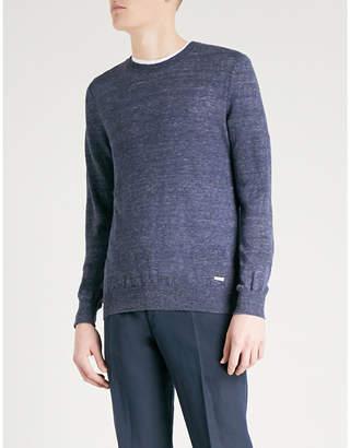 BOSS ORANGE Crewneck marled linen jumper