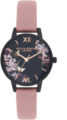 Olivia Burton After Dark Leather Strap Watch, 30mm