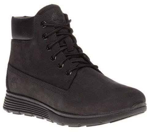New Boys Black Killington 6` Nubuck Boots Lace Up Zip