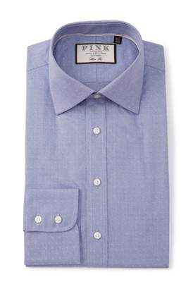Thomas Pink Slim Fit Texture Woven Shirt
