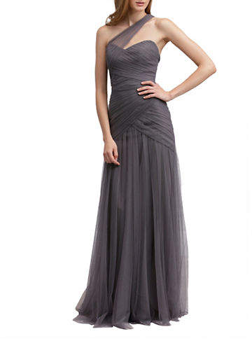 Monique Lhuillier Bridesmaids One Shoulder Tulle Gown