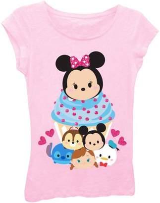 Tsum Tsum Girls' Cupcake and Hearts Short Puff Sleeve Graphic Tee T-Shirt With Magenta Glitter