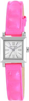 Vince Camuto Women's VC/5069SVPK -Tone Square Watch with Neon-Pink Leather Strap